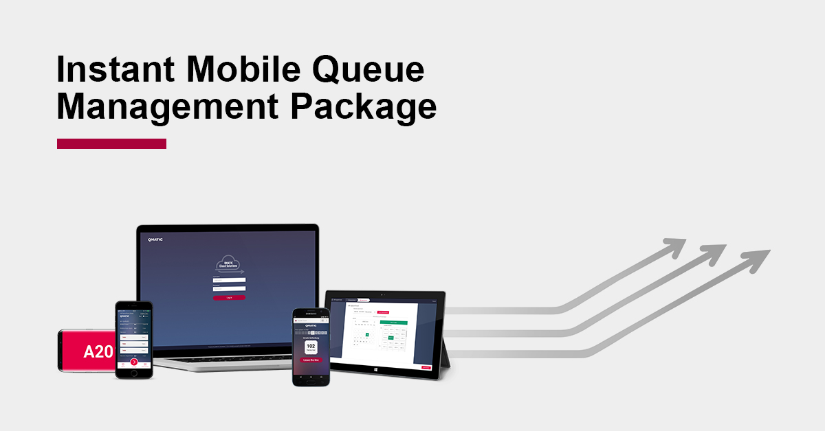 instant mobile queue management package graphic with arrows