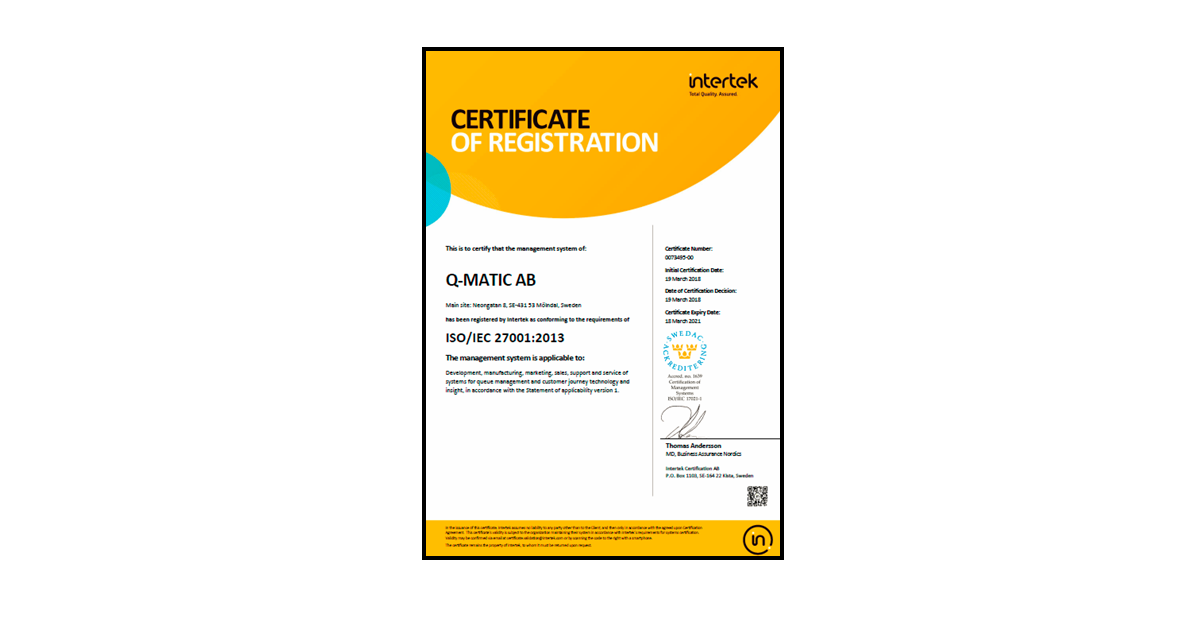 qmatic is ISO certified