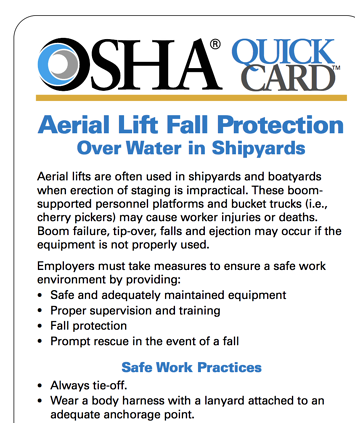 osha safety regulations aerial lift fall protection