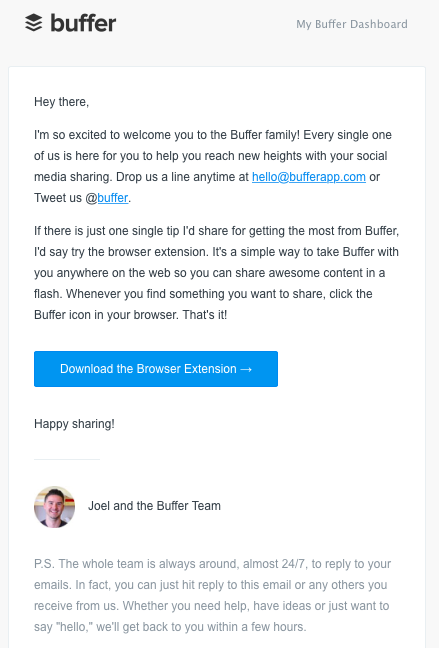 buffer welcome email