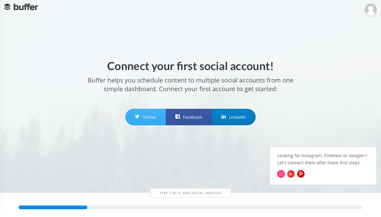 Buffer welcome page