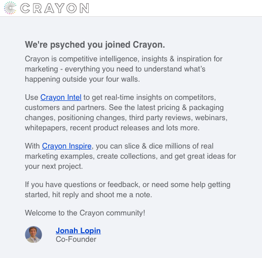 crayon welcome email