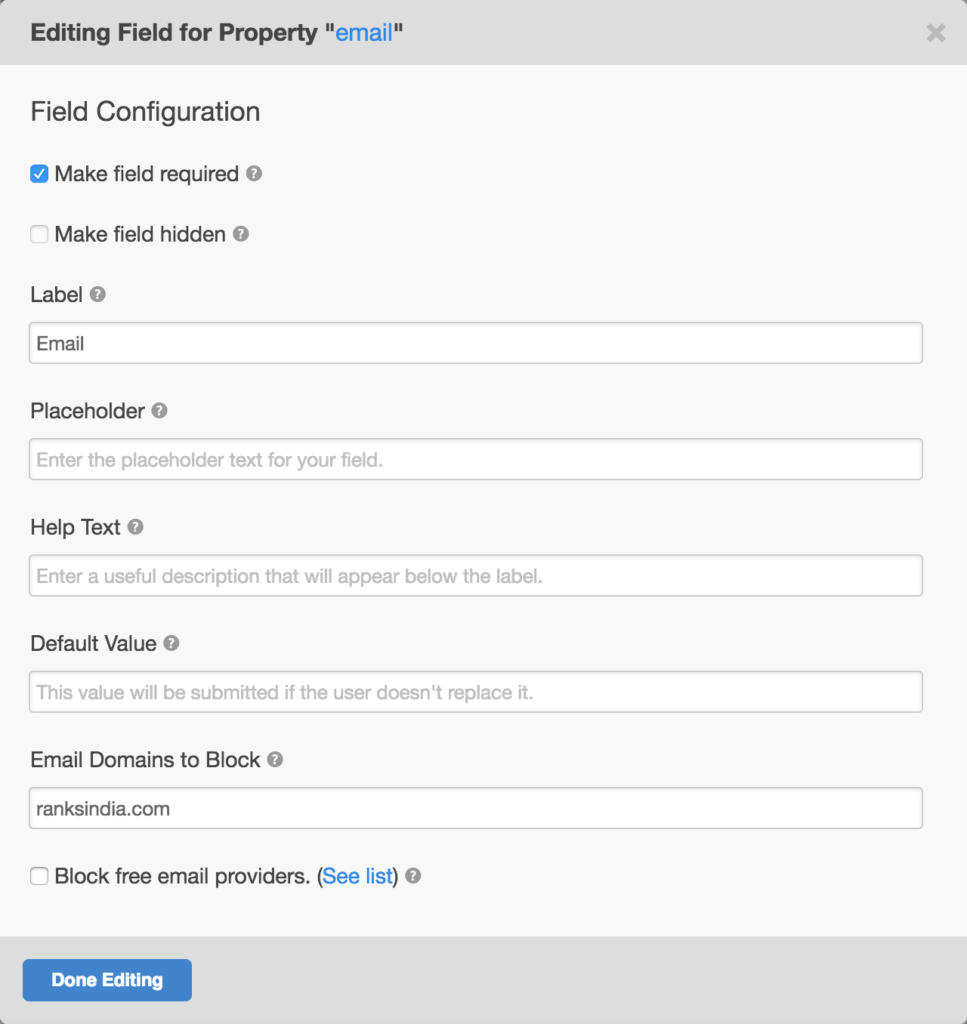 Block free email addresses