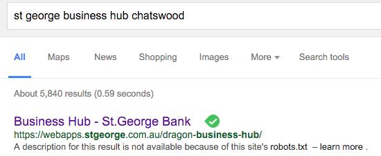 Business Hub blocked in Google