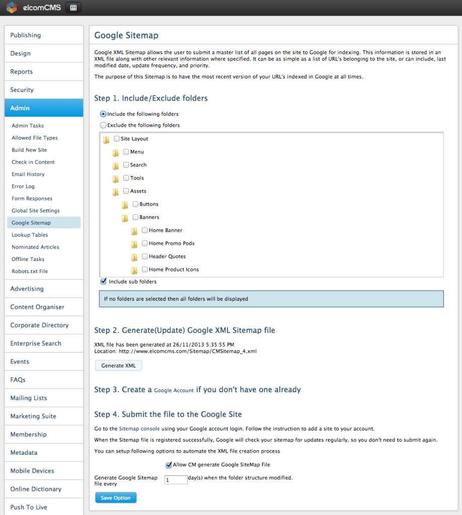 elcomCMS XML Sitemaps settings
