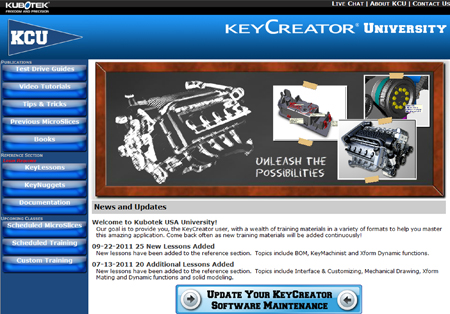 KeyCreator University website home page