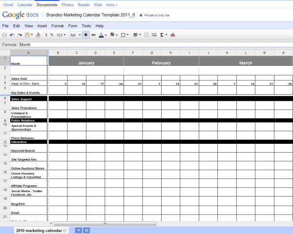 Free excel marketing calendar template for Public relations plan template free