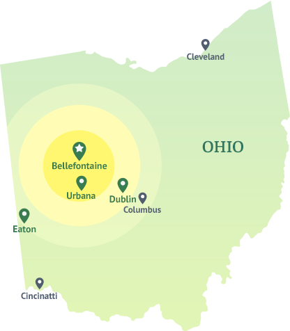 ohio state map bellefontaine