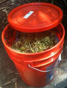 Backyard DIY Worm Composting Bin With Two Five Gallon Buckets