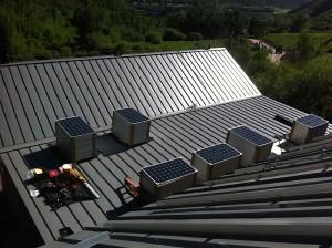 solar panels installed at walking mountains
