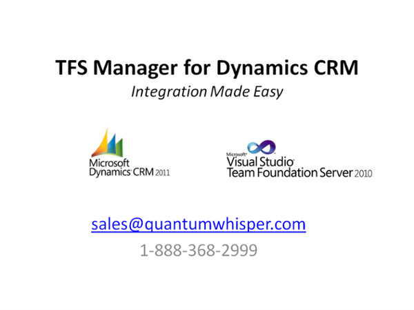 Microsoft Dynamics CRM and TFS Case and Work Item Integration Overview.