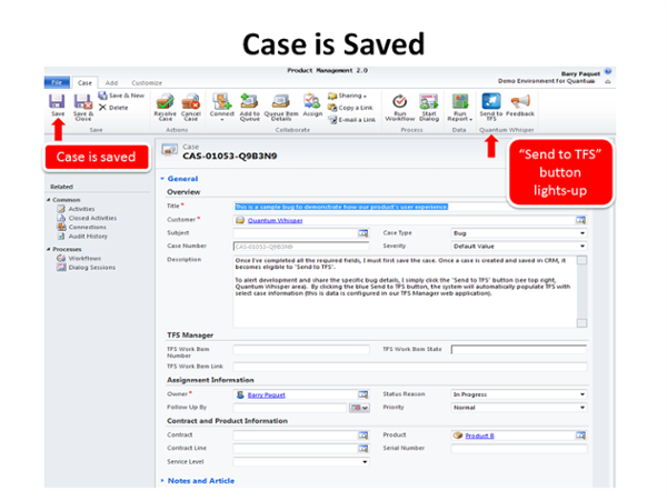 Step 2: Save case in Dynamics CRM