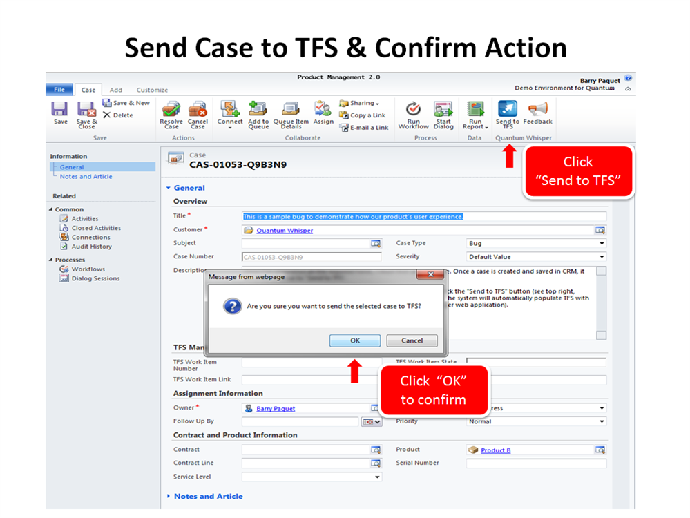 Step 3: Send case to TFS and confirm action.