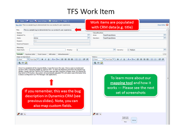 View CRM case details in TFS.