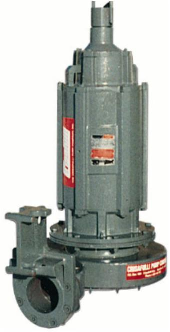 "Submersible Electric Pump, 72 models, flows to 3,000 GPM, TDHs to 270', solids 3""."