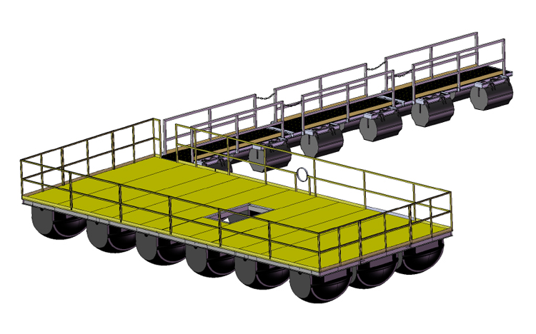 Drawings of Floating Platforms for pumps and other applications.