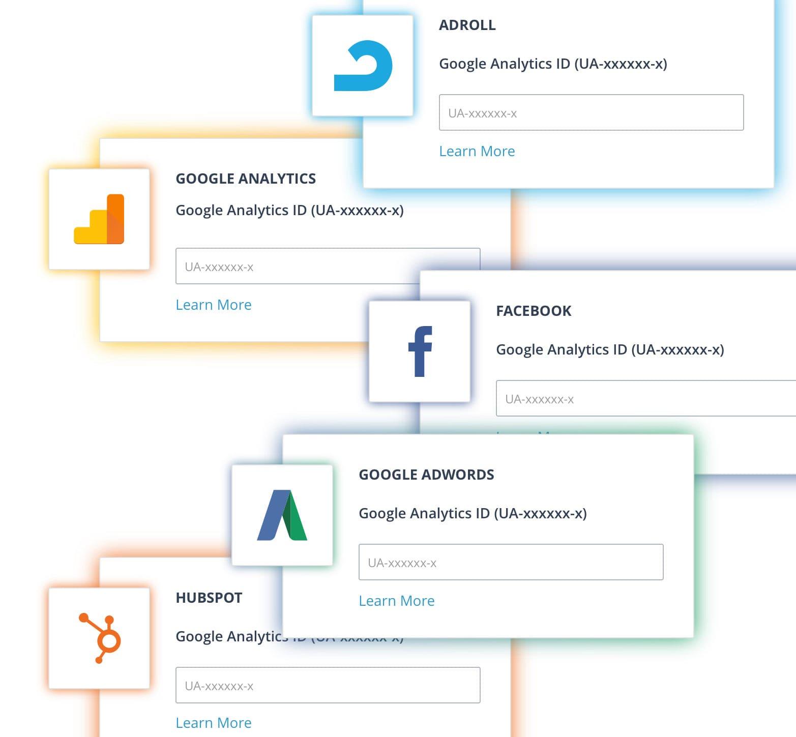 AdRoll, Hubspot, Facebook and Google Analyitics Integrations