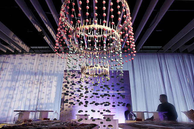 Dangling food art at FoodNetwork's birthday party