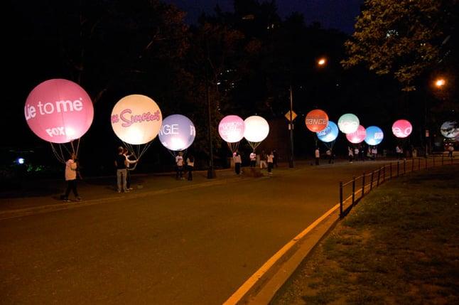 Balloons light the way through Central Park