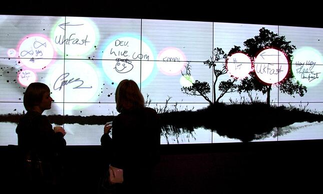 An interactive canvas at a Microsoft event