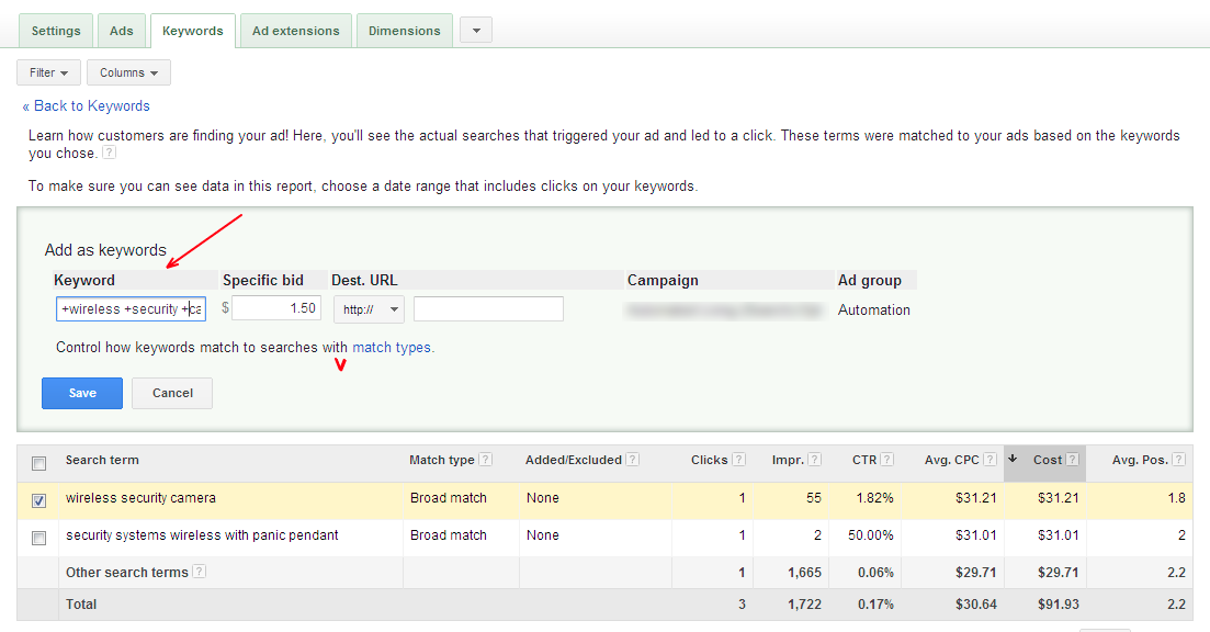 Optimize Based On Search Terms Report