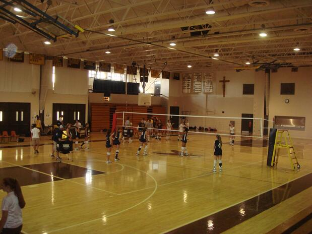 Utilizing concealed floor sockets for indoor volleyball Indoor basketball court ceiling height