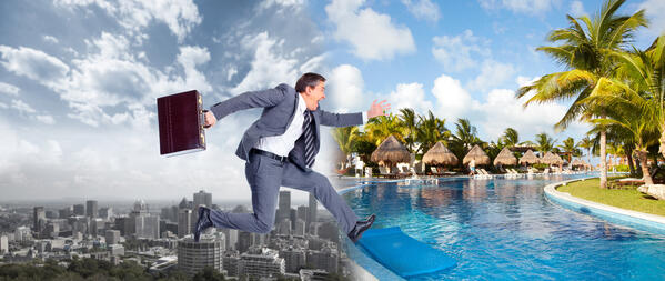 Businessman jumping into summer vacation