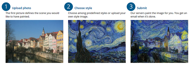 neural-style network demonstrates starry night mapped onto another image