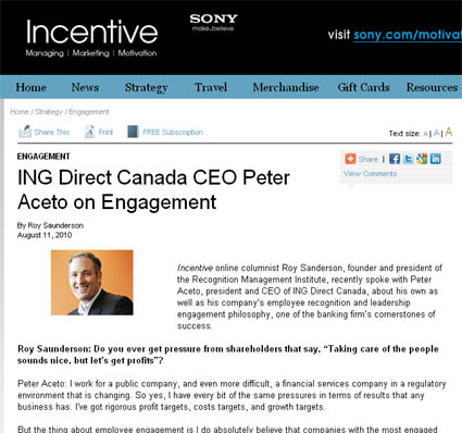 Incentive Magazine interview with Peter Aceto