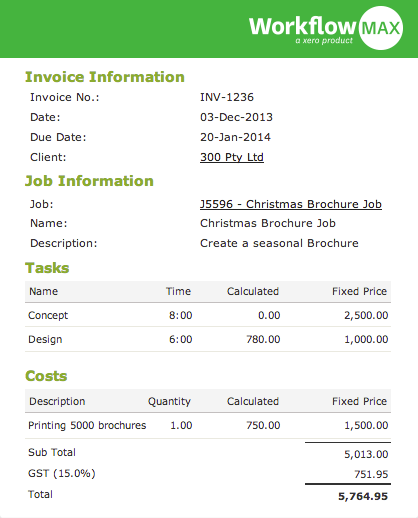 WorkflowMax invoices in Xero
