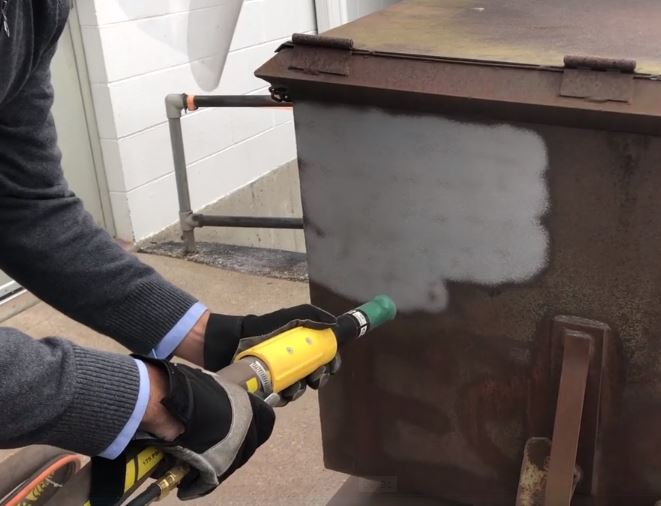 Paint and coating stripping with dry ice blasting + abrasive