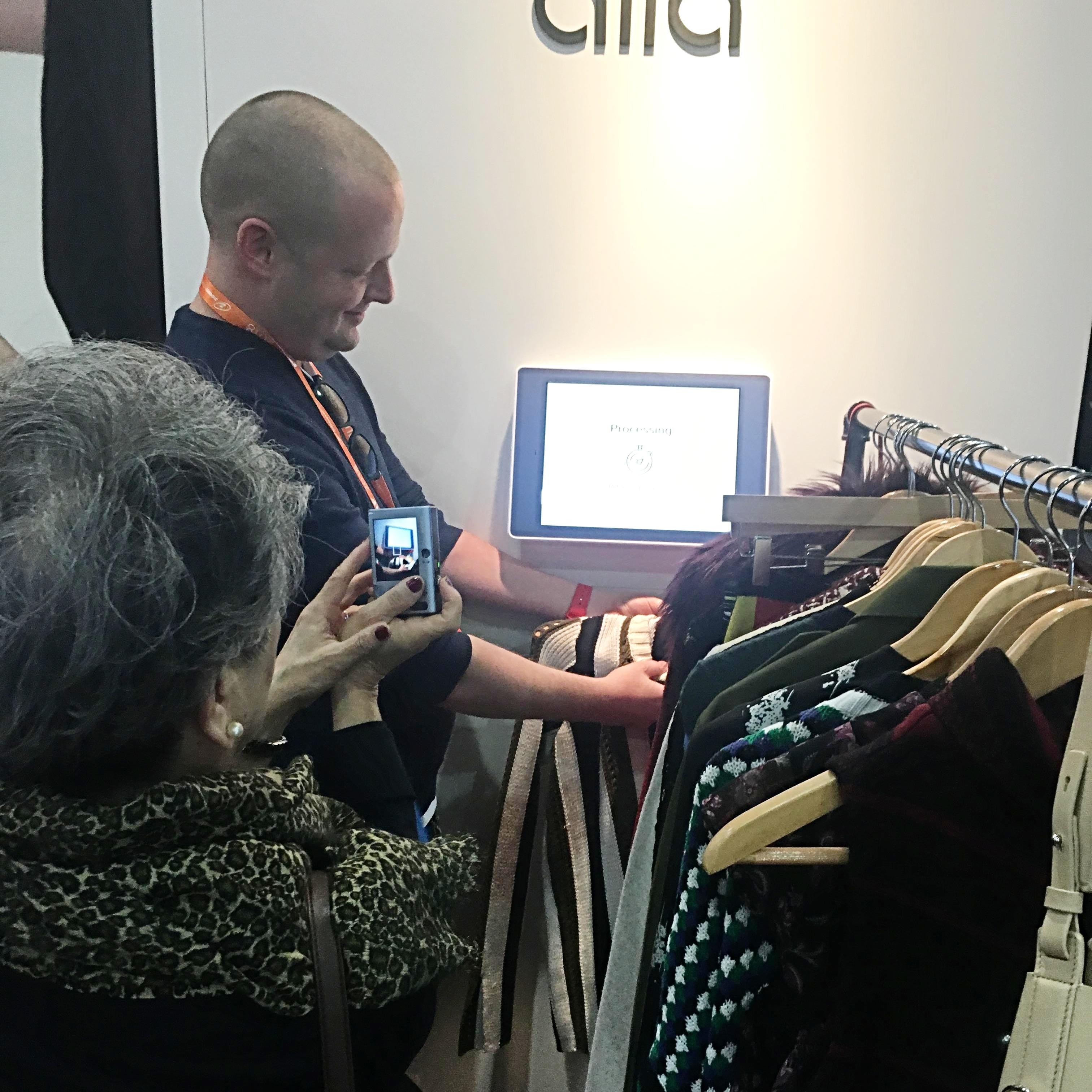 Hampton Catlin demos Rent the Runway's self-service product returns with Aila's Interactive Kiosk.
