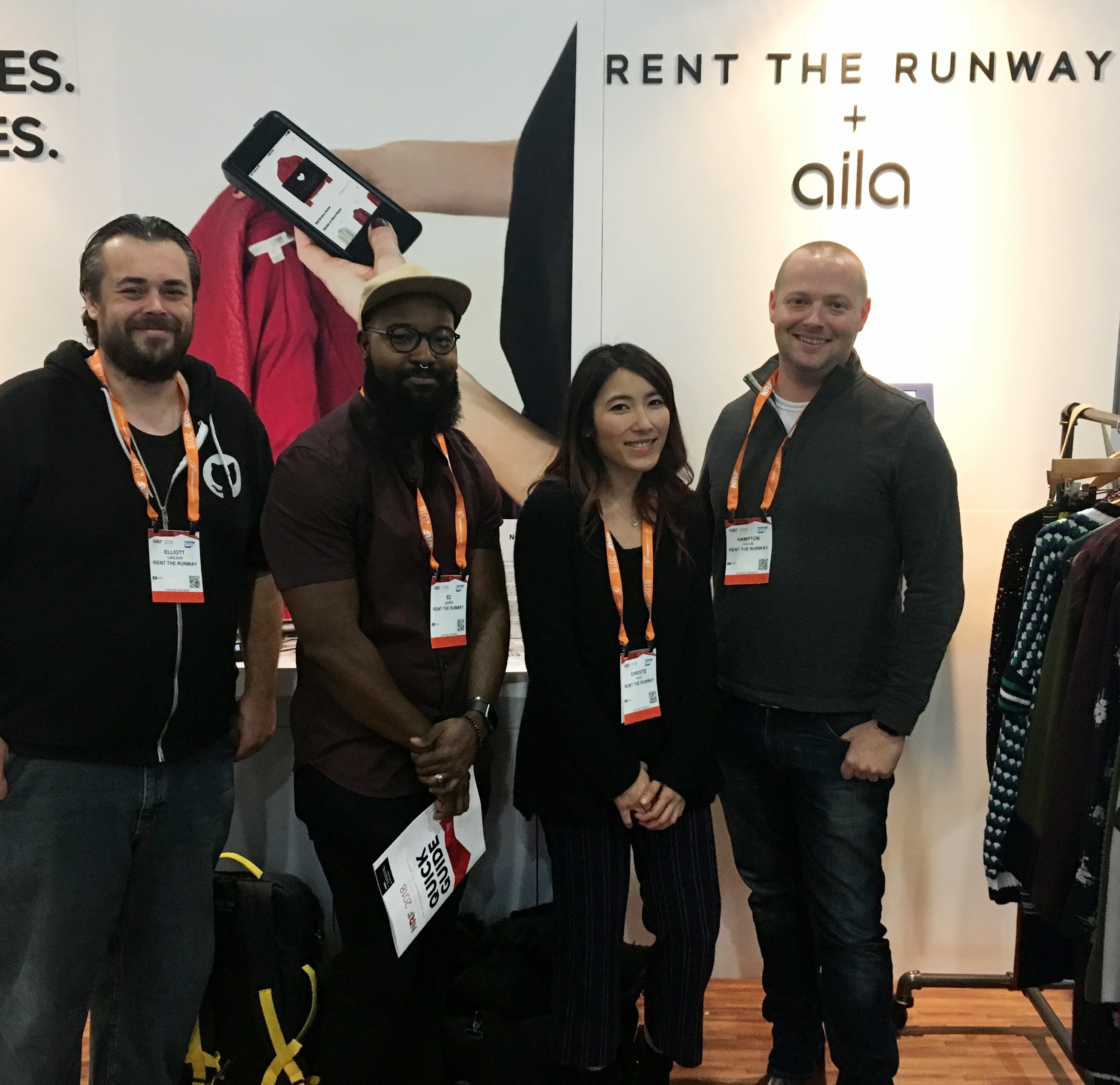 Members of the Rent the Runway team at Aila's NRF booth.