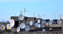 Multiple satellite dishes