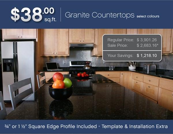 38 square foot granite limited promotion. Black Bedroom Furniture Sets. Home Design Ideas