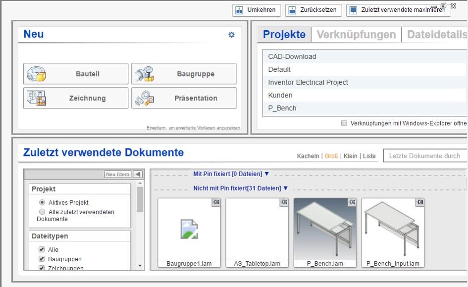 Die Startseite in Autodesk Inventor im Standard. Inventor bietet die Möglichkeit, die Startseite individuell anzupassen.