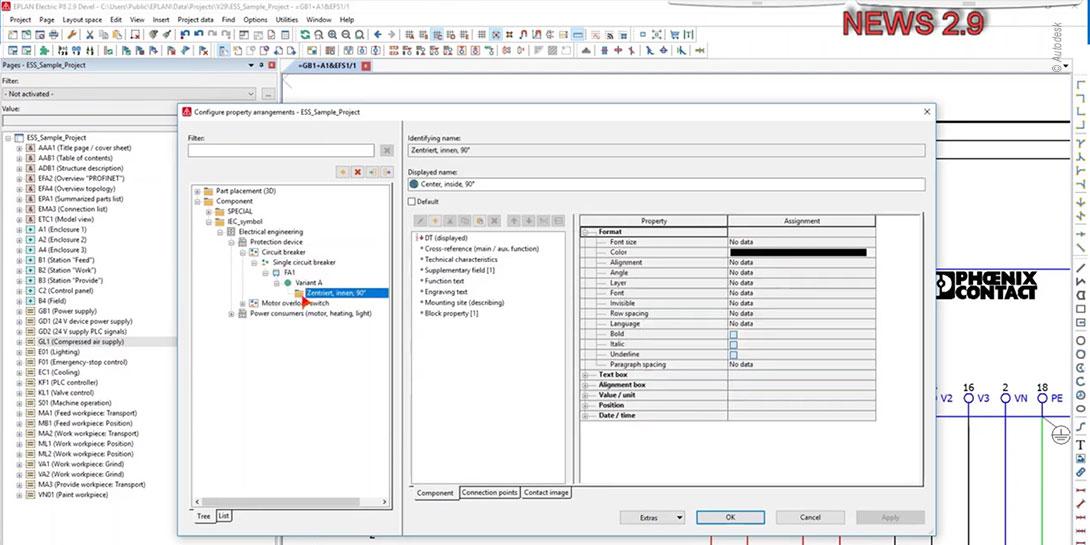 Dialog zur Verwaltung und Bearbeitung von benutzerdefinierten Eigenschaftsanordnungen für 3D-Artikelplatzierungen und Schaltzeichen in der Eplan Version 2.9.