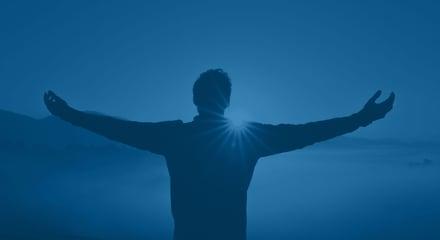 Man hands sunrise_blue