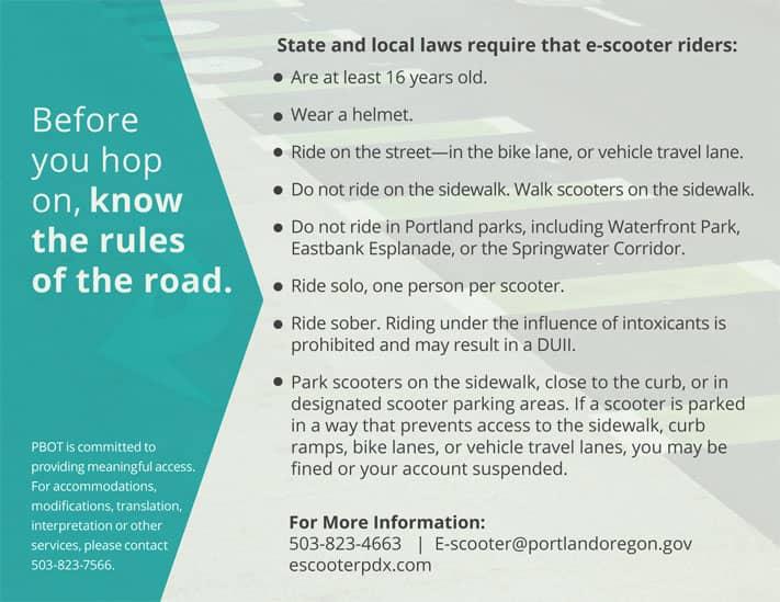 E-Scooter Rules - City of Portland
