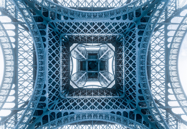 View of the Eiffel Tower in Paris, France from underneath.