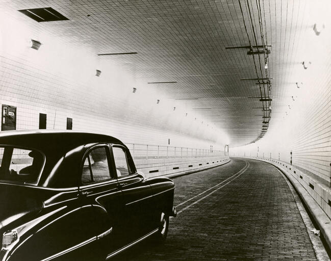 Close-up of a car moving in a tunnel, Brooklyn-Battery Tunnel, New York City