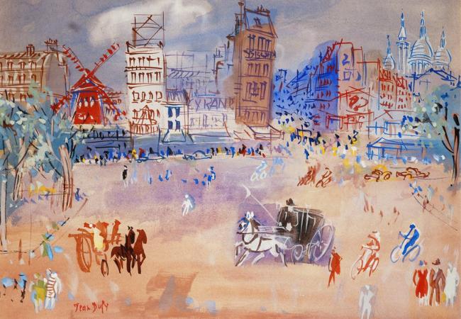 Paris, Place Blanche et le Moulin Rouge. Jean Dufy painting