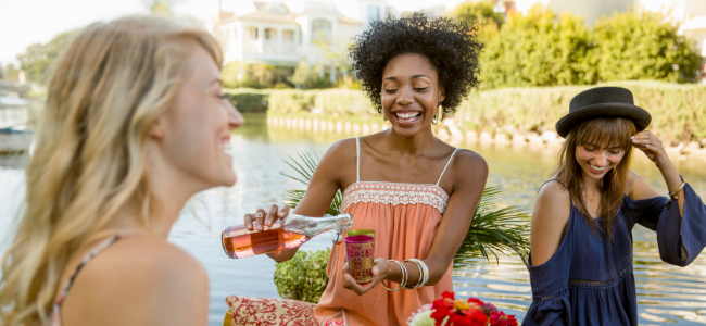 Friends enjoying picnic, drinking rose wine at summer lakeside