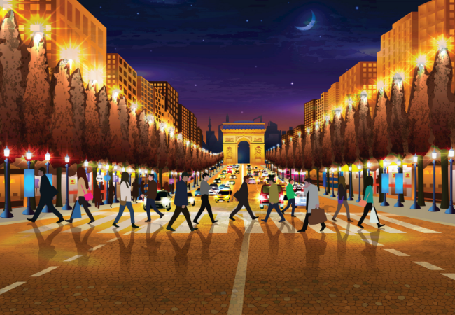 Illustration of people walking in Paris, France