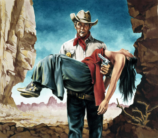 Cowboy carrying an unconscious woman
