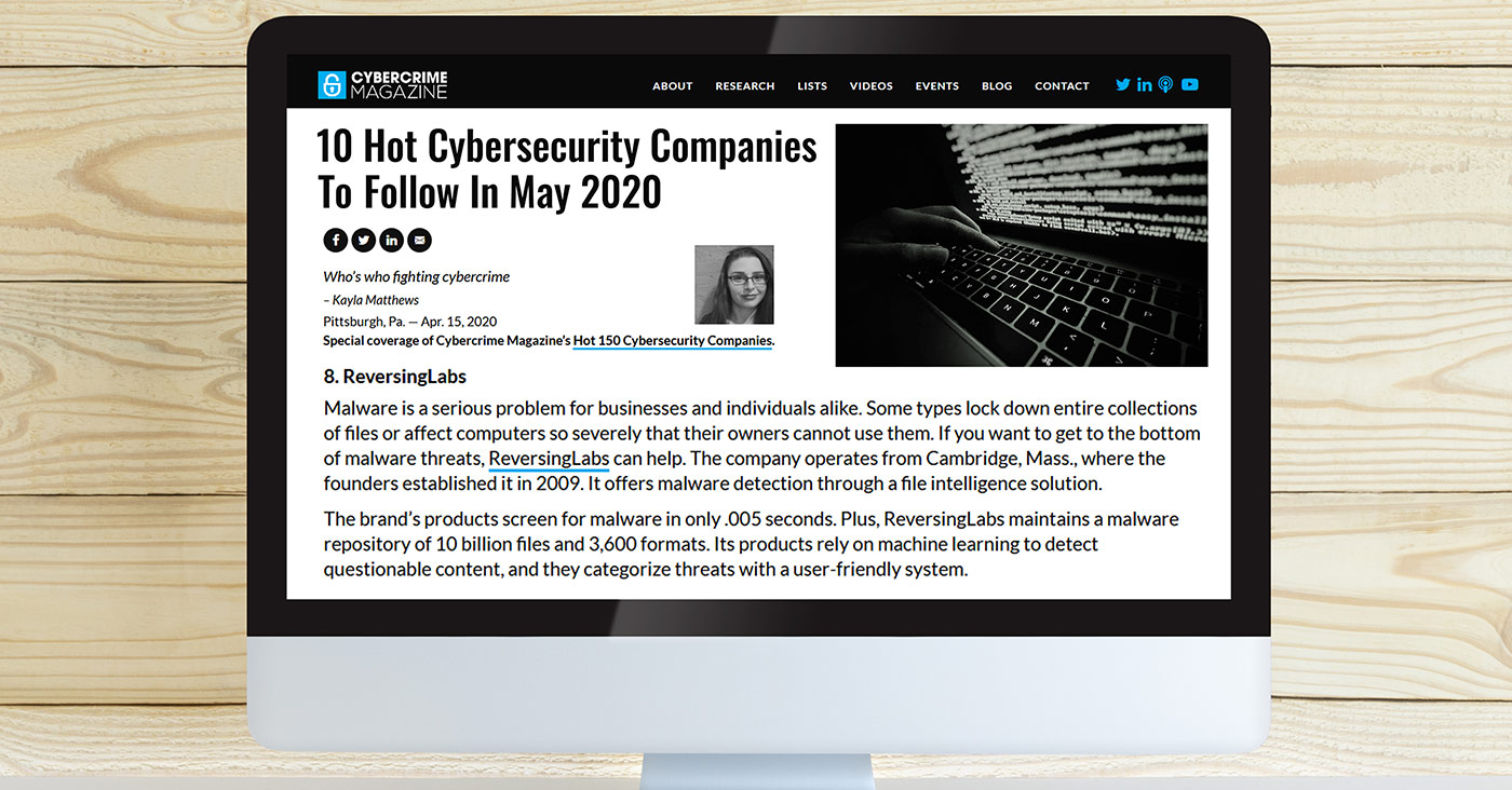 Cybercrime Magazine: 10 Hot Cybersecurity Companies To Follow In May 2020