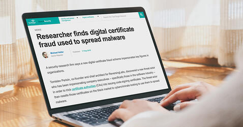 TechTarget's SearchSecurity highlights RevesingLabs research on certificate fraud schemes