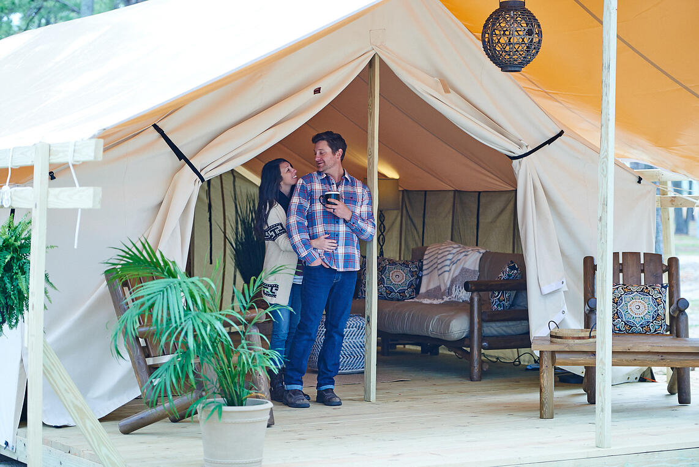 Chincoteague Island KOA Safari Tent couch (2)