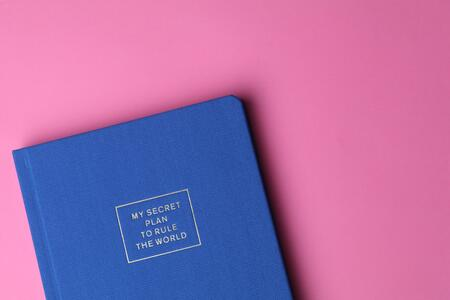 blue-journal-on-pink-background