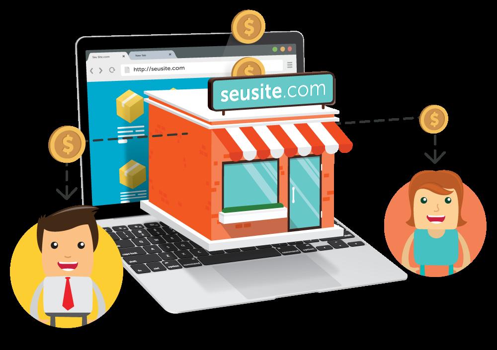 Arte mostrando o funcionamento de um marketplace